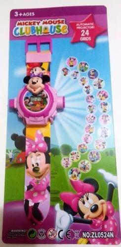Relogio Minnie Rosa Projetor De Luz Com 24 Imagens Infantil