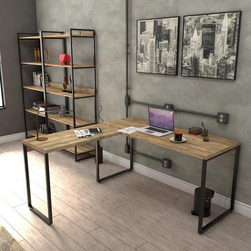 Escrivaninha De Escritório Em L Estilo Industrial 1,50x1,50m