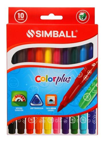 Imagen 1 de 4 de Marcadores De Colores Color Plus X 10 Unidades Simball