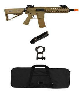Rifle Airsoft Elétrico Src M4a1 Sr4 St Tan + Lanterna + Capa