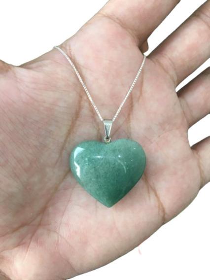 Colar Quartzo Verde Coração Cordão Prata 925 Cl71