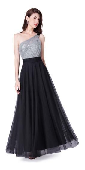 Vestido De Quince-fiesta- Egreso Plata-negrotalle L(mod. 72)