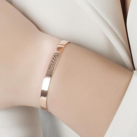 Bracelete Gravado Vida Rose Ouro Com Garantia