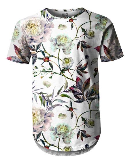 Camiseta Masculina Longline Swag Floral Aquarela
