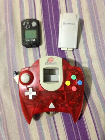 Controle Original Dreamcast Vermelho Com Vmu E Rumble Pak