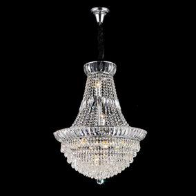 Lustre Imperial Cristal Translúcido 10 Lâmpadas Ø60cm +luz