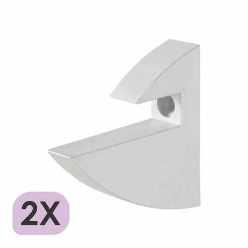 Imagem 1 de 5 de Kit 2 Suporte Tucano Para Prateleira 15mm Branco