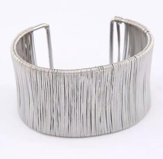 Bracelete Pulseira Prateado Largo Fashion 4,4 Cm Filete
