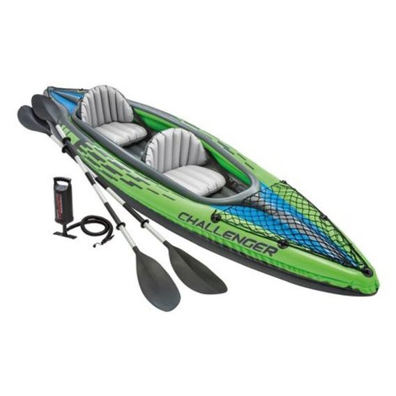Kayak Inflable Challenger 2 Personas Con Remos Y Bomba Intex