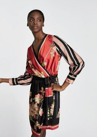Vestido Estampado Floreado Fiesta Zara Mujer Satén