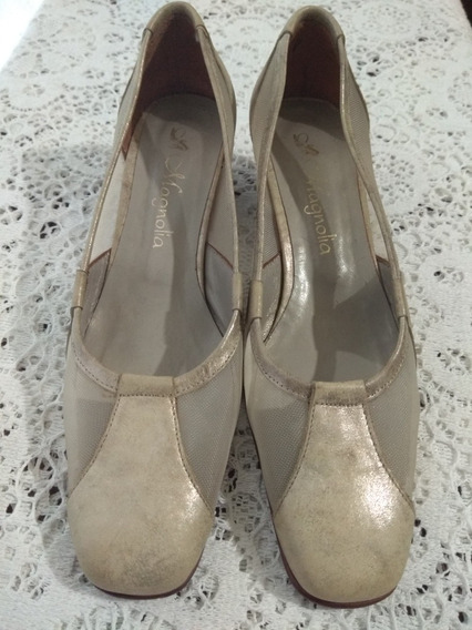 Zapatos Clasicos De Cuero Taco Cuadrado Magnolia
