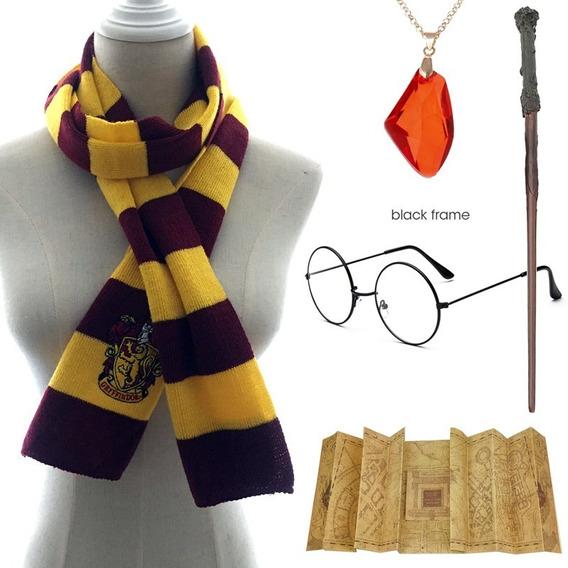 Kit Harry Potter Cachecol Grifinóia + Óculos + Varinha Mágica + Mapa Do Maroto + Pedra Filosofal