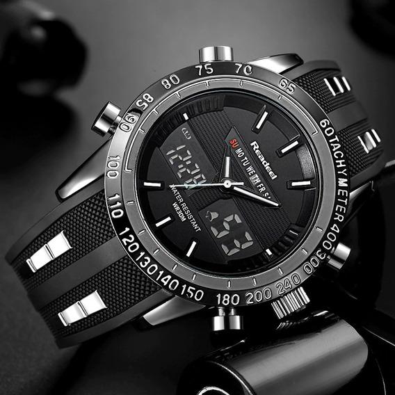Relógio Masculino Esportivo Digital Dual Time Silicone 30mts