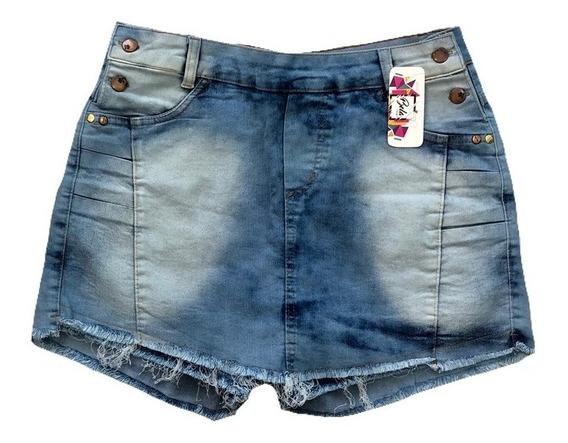 Short Saia Feminino Plus Size Cintura Media Com Lycra