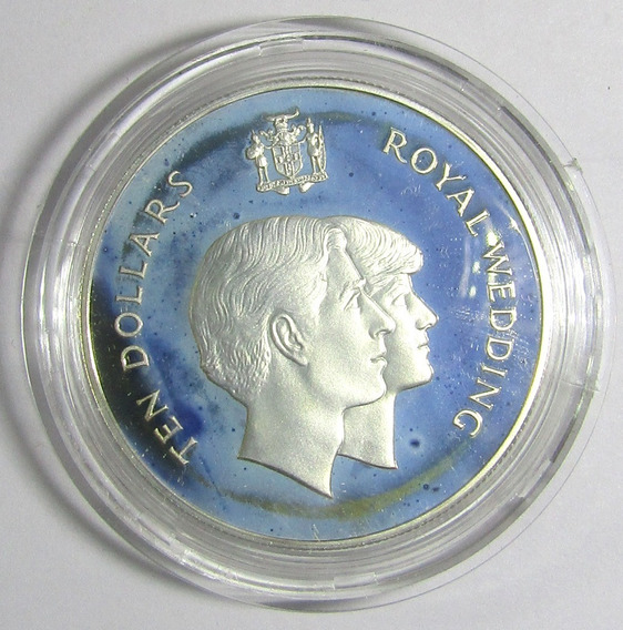 Jamaica 10 Dolares 1981 Plata Boda Real Lady Diana Proof