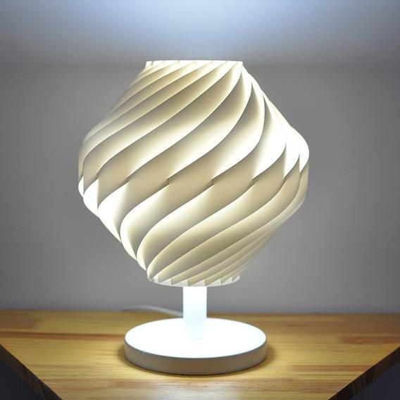 Abajur Twist Com Pedestal E Base Branca - 36cm De Altura