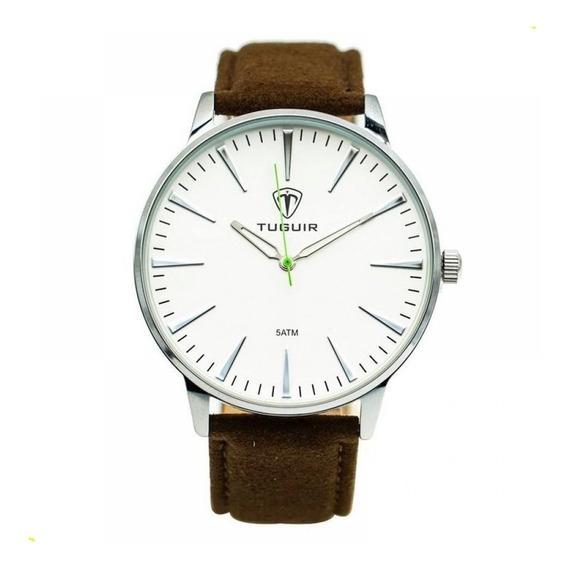 Relógio Masculino Tuguir 5273g Branco Marrom Original C Nota