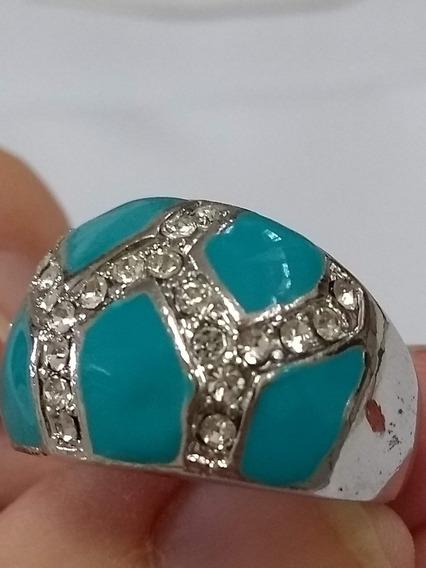 Anel De Aço Com Pedra Sintética Azul E Zircônia