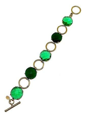 Pulseira Dourada Com Pedras Verdes