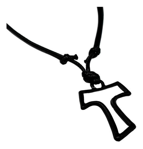 Corrente Colar Cordão Regulável Cruz Tau Franciscano