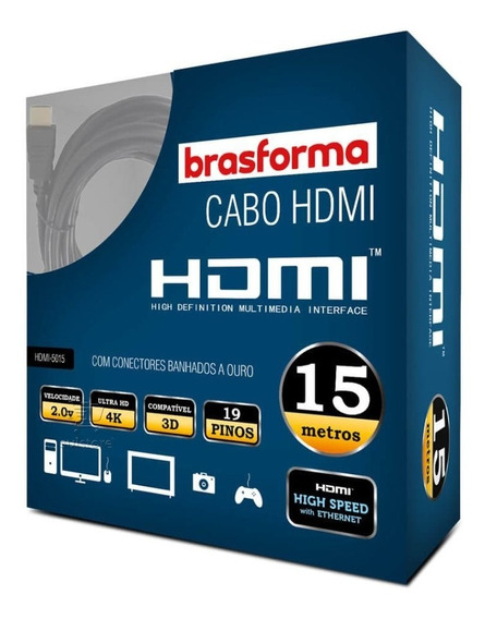 Cabo Hdmi 15 Metros 15m 2.0 Full Hd 4k Brasforma Hdmi-5015