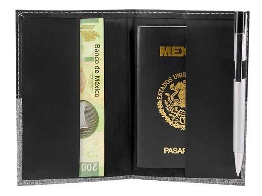 Porta Pasaporte Billetera Curpiel Negro Y Oxford Economico