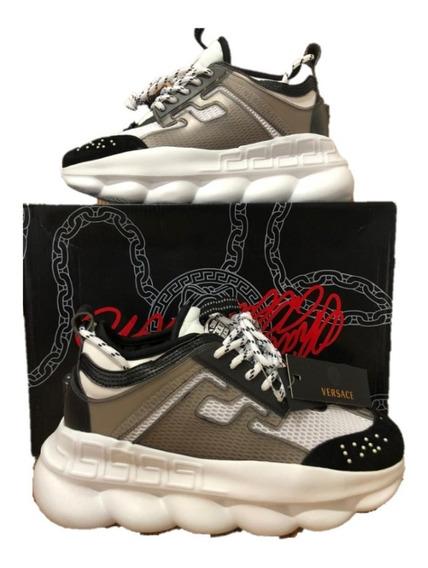 Tenis Sneakers Versace Chain Reaction Grey Envio Gratis