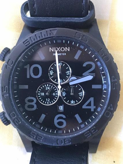 Relógio Nixon Original 51-30 Simplify - Pulseira Autêntica Couro Legítimo - All Black A 124 - 001 + Frete Grátis