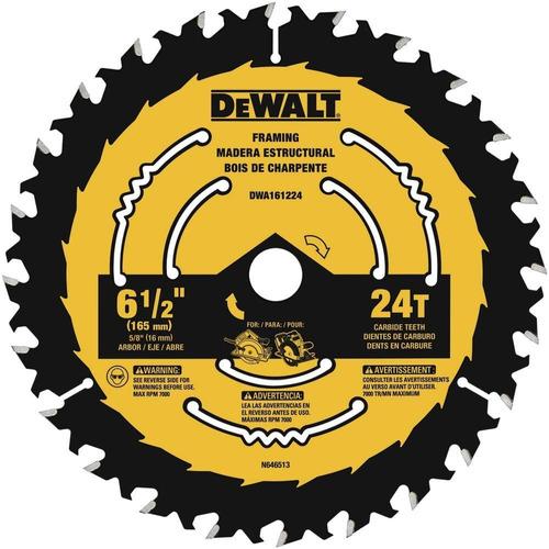 Disco Sierra 6 1/2in 24t Blister Dewalt Dwa161224