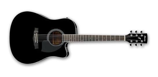 Guitarra Electroacustica Ibanez Pf15ece Negra / Madera Corte