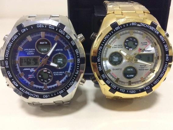 Relógio Masculina Prata Dourado Original Barato
