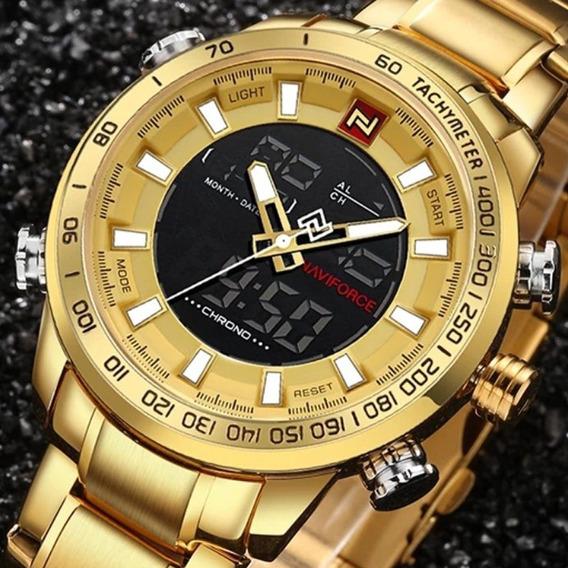 Relógio De Pulso Masculino Esportivo Naviforce Dourado
