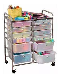 Carrinho De Metal Com 12 Gavetas Para Organização Objetos