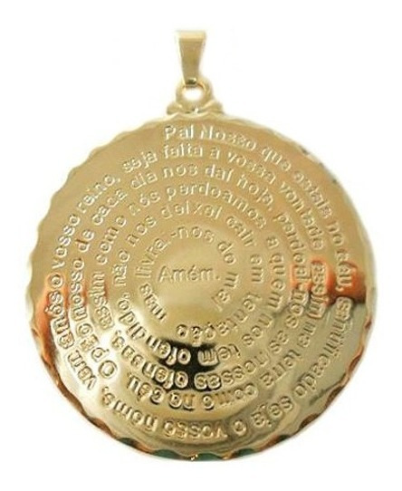 Pingente Medalha Oração Do Pai Nosso Folheado A Ouro