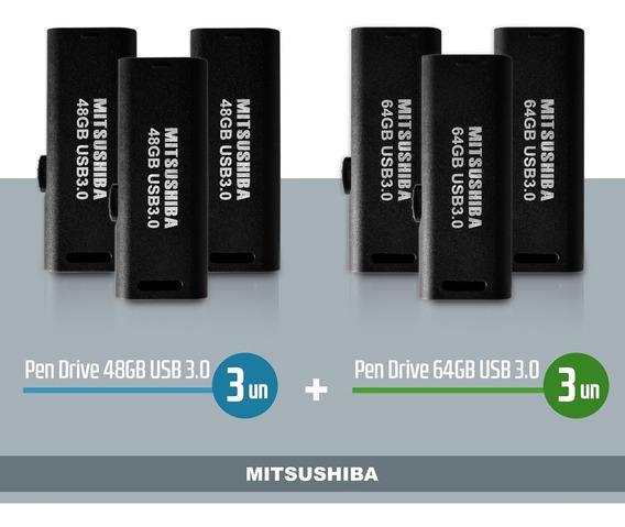 Kit Pen Drive 48gb 3pcs + 64gb 3pcs Ambos Usb 3.0 Mitsushiba