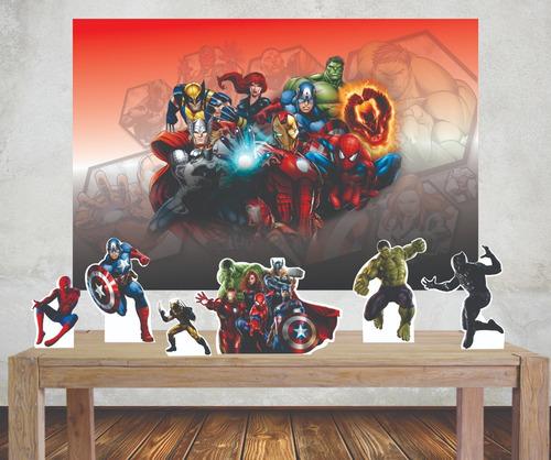 Imagem 1 de 4 de Kit Marvel Painel Poli Banner + Displays Festa