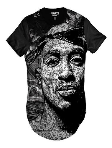 Imagem 1 de 2 de Camiseta Longline 2pac Rapper Tupac Hip Hop Style