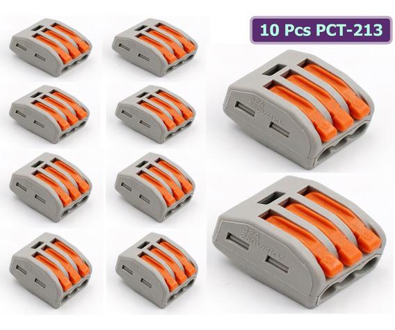 Kit 10 Conector Emenda Derivacao 3 Fios Alavanca Tipo Wago