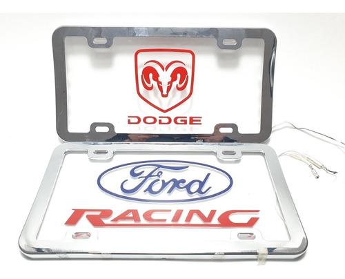 Imagen 1 de 11 de Porta Placa De Acrilico Con Luz Ford Chevrolet Gm Dodge