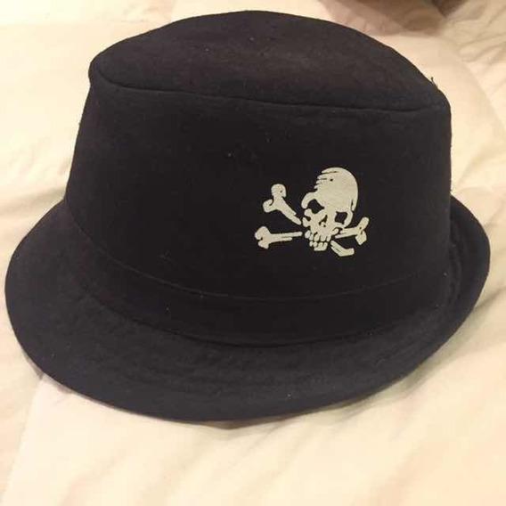 Sombrero Negro Con Diseño De Calavera