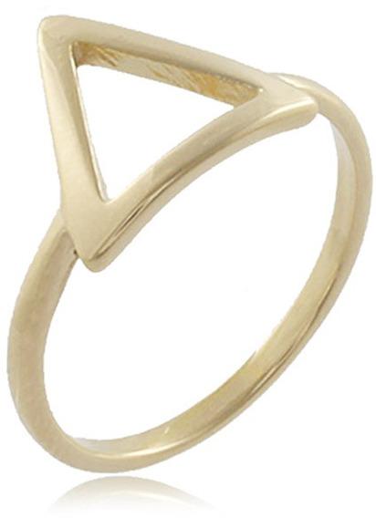 Anel Triângulo Vazado Folheado Ouro 18k - Aproveite Já