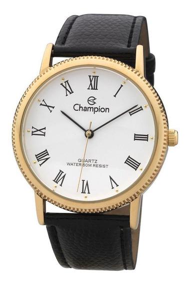 Relógio Masculino Dourado Champion Couro Com Número Romanos