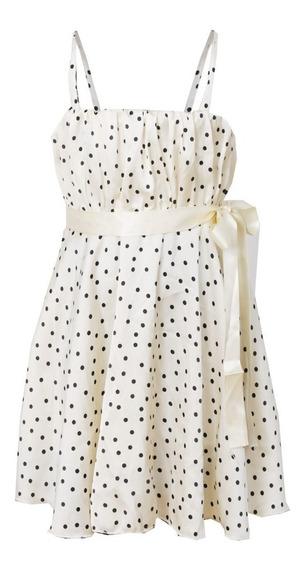 Vestido De Nena De Saten Con Lunares, Brishka, N-0043