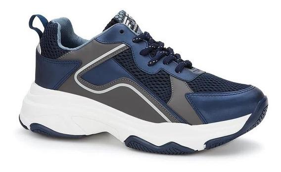 Tenis Sneaker Suela Ancha Resistente Azul Moderno Ferrato