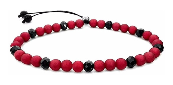 Pulseira Pedra Cristal Masculina Feminina Vermelha