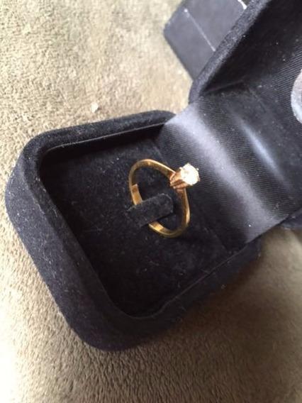 Anel Solitário Ouro 18k Com Diamante 25 Pontos