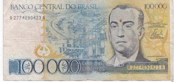 Nota Cédula Dinheiro 100000 Cruzeiro Sem Carimbo