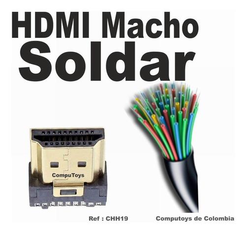 Imagen 1 de 7 de Zchh19 Conector Para Soldar A Cable Hdmi Macho Computoys