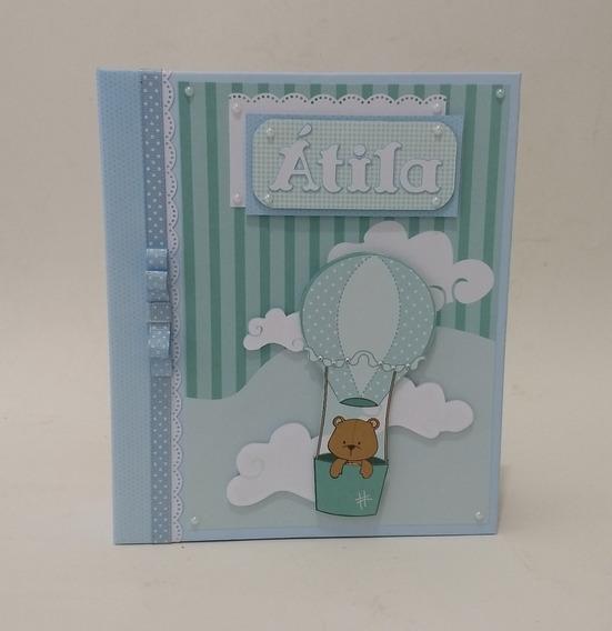 Álbum Foto Do Bebê Diário Personalizado Urso Balão Scrapbook