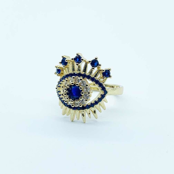Anillo Acero Inox. Ajustable Piedra Zirconia Azul Marino